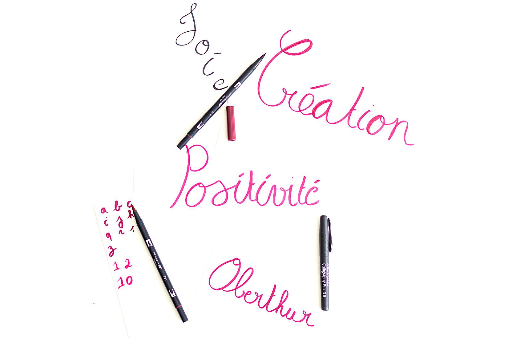 methode2-brushpen-rose-violet-noir-flatlay-calligraphie-hand lettering-tutoriel-oberthur-blog-rennes-lifestyle
