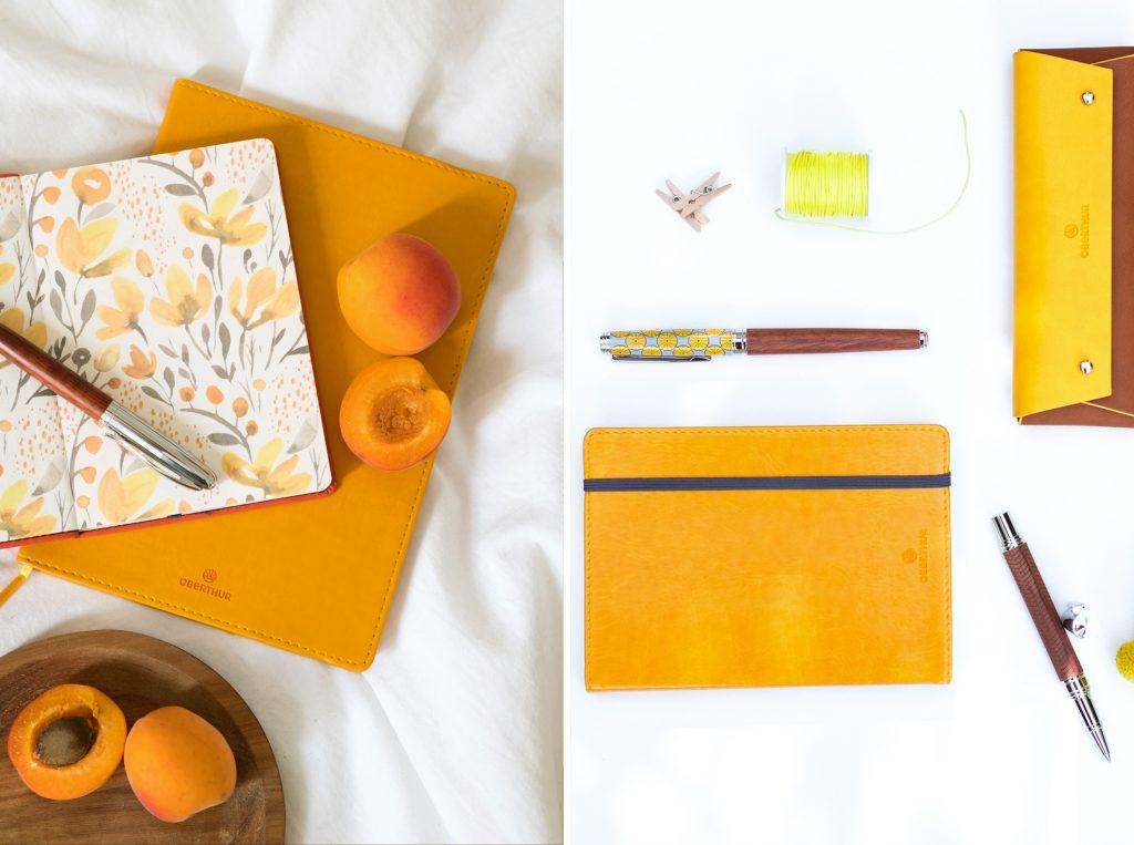 Une parure carnet et stylo Oberthur jaune moutarde pour apporter du pep's au quotidien