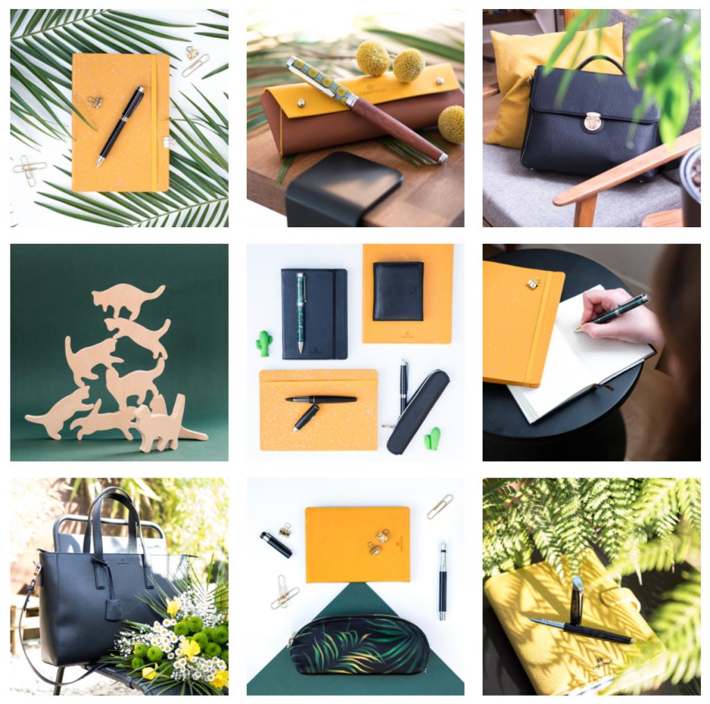 2-Oberthur-blog-retrospective-2020-Instagram-maroquinerie-papeterie-ecriture-vert-jaune-exotique-printemps