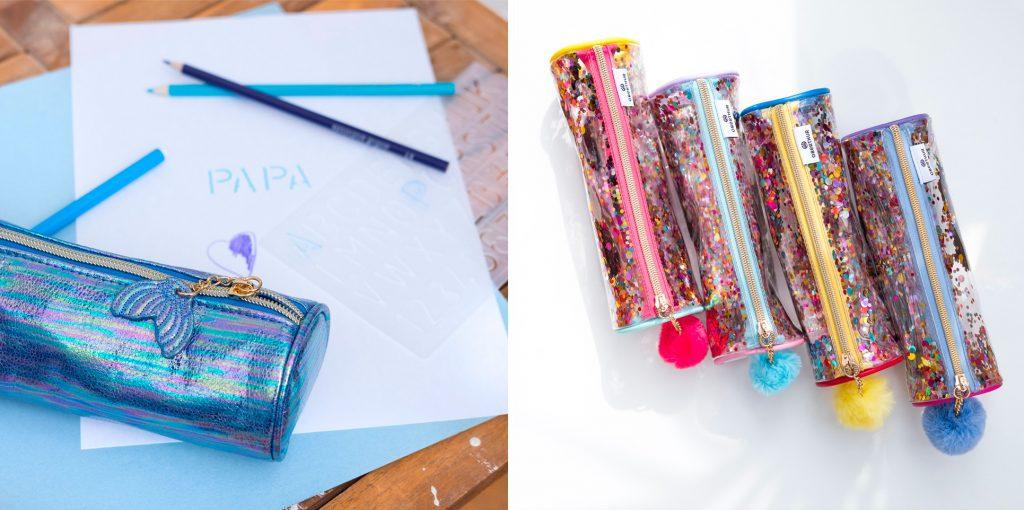 Trousse ronde irisée sirène et trousses confettis pour le primaire et le collège